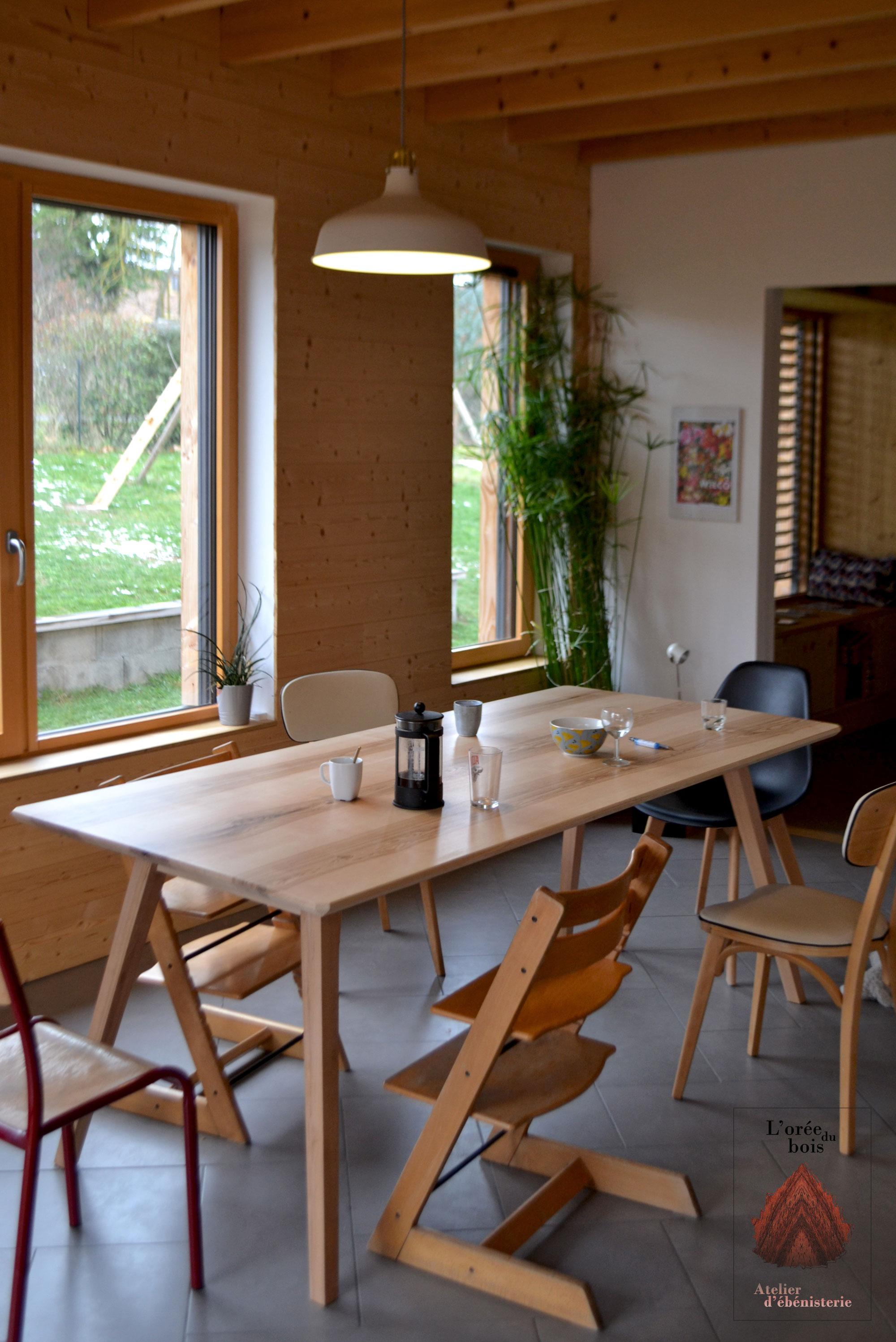 table salle à manger frêne & érable massif